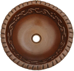 Round Hammered Copper Sink with Flower Rope Design