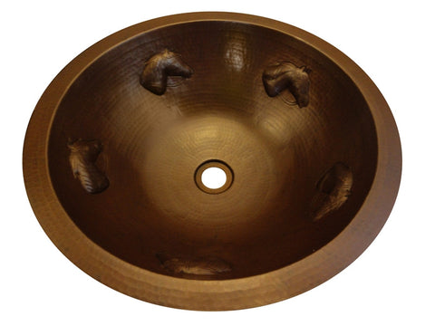 Round Hammered Copper Sink with Horses
