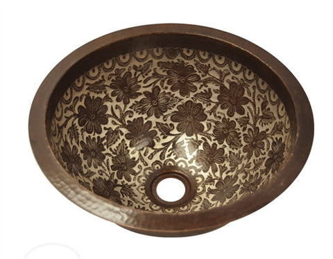 Round Hammered Copper Sink with Silver Flowers Design