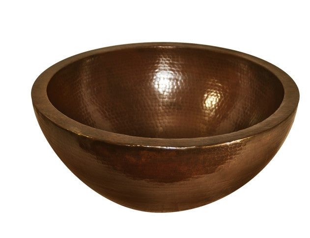 Round Double Bowl Vessel Hammered Copper Sink