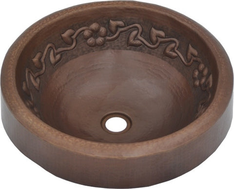 Round Vessel Hammered Copper Apron Sink Flower Design