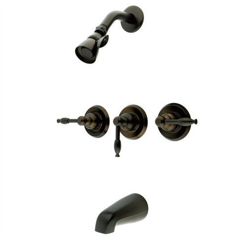 Three Handle Tub and Shower Faucet