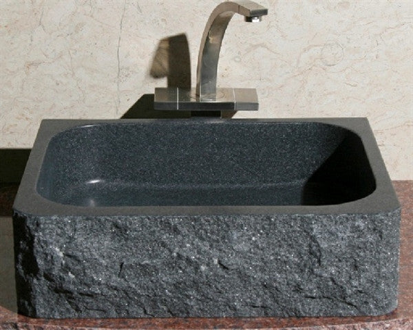 "18"" Rectangle Black Granite Vessel Sink"