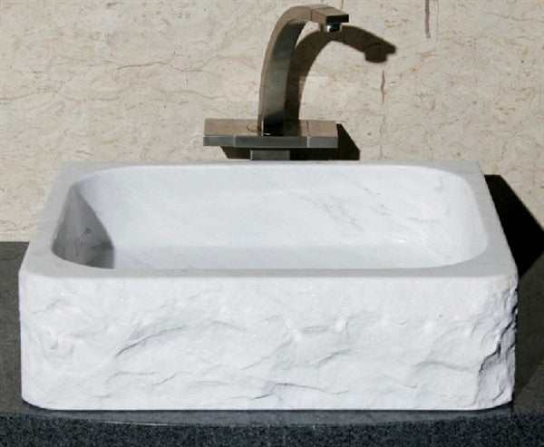 "18"" Rectangle Carrara White Marble Lavatory Sink"