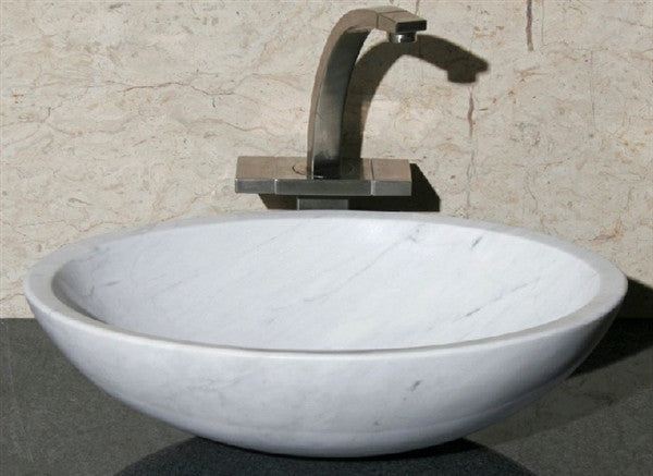 "18"" Oval White Carrara Marble Vessel Sink"