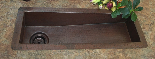 "30"" Hammered Copper Trough Sink"
