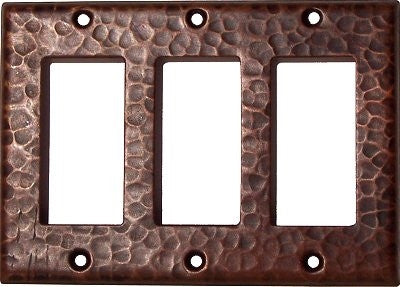 Triple GFI Hammered Copper Switch Plate Cover