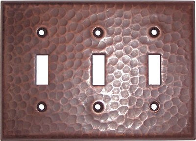 Triple Toggle Hammered Copper Switch Plate Cover