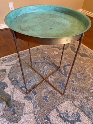 Round Copper Hammered Side Table