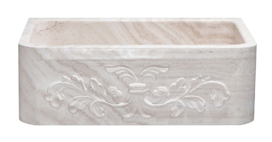 "30"" Travertine Farmhouse Sink with Floral Apron"