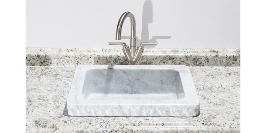 "19"" Carrara Marble Bathroom Sink with Chiseled Edge"