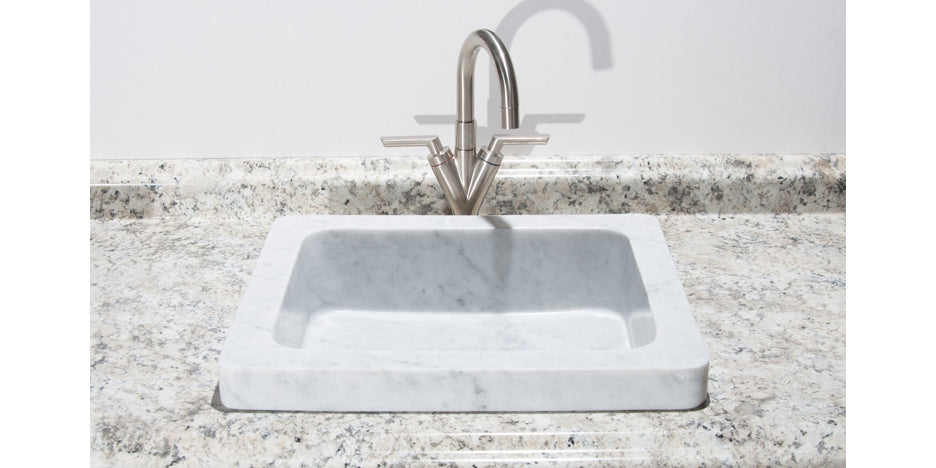"19"" Carrara Marble Bathroom Sink"