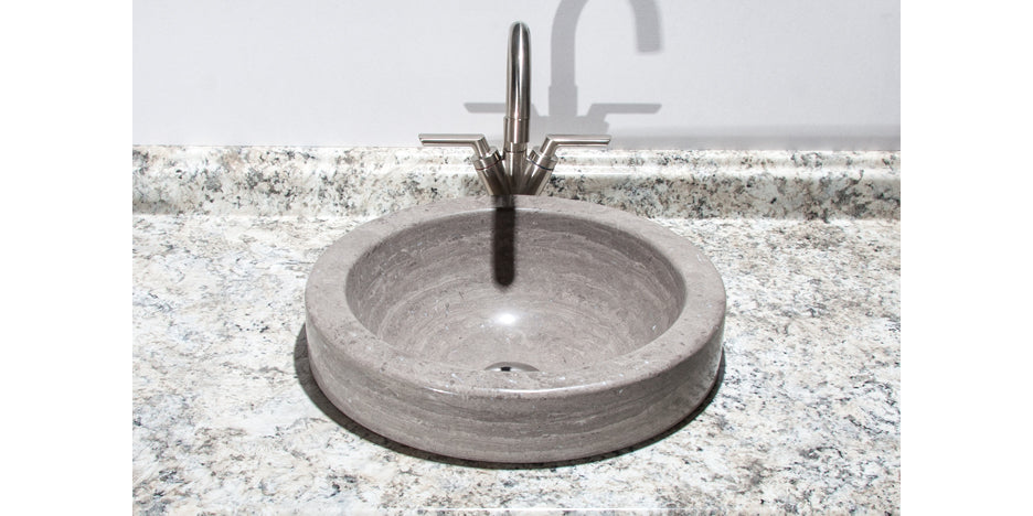 Gray Marble Round Bathroom Sink