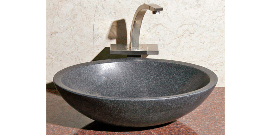"18"" Oval Black Granite Vessel Sink"
