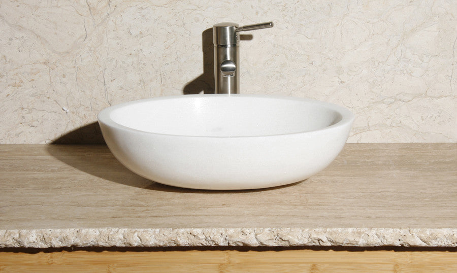 Snow White Oval Marble Vessel Sink