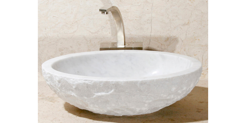 "18"" Oval Carrara White Marble Sink w/Chiseled Edge"