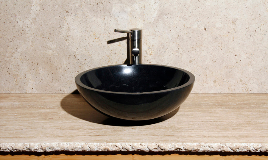 "16"" Round Black Granite Vessel Sink"