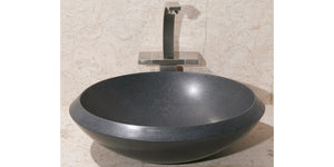 "17"" Round Black Granite Vessel Sink"
