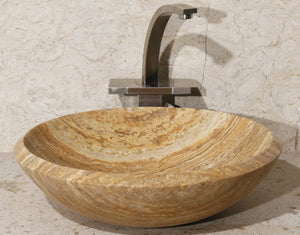 "17"" Round Gold Travertine Vessel Sink"
