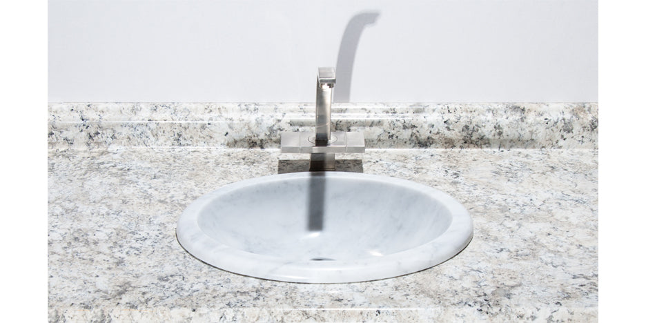 "19"" Carrara Marble Oval Drop-In Bathroom Sink"