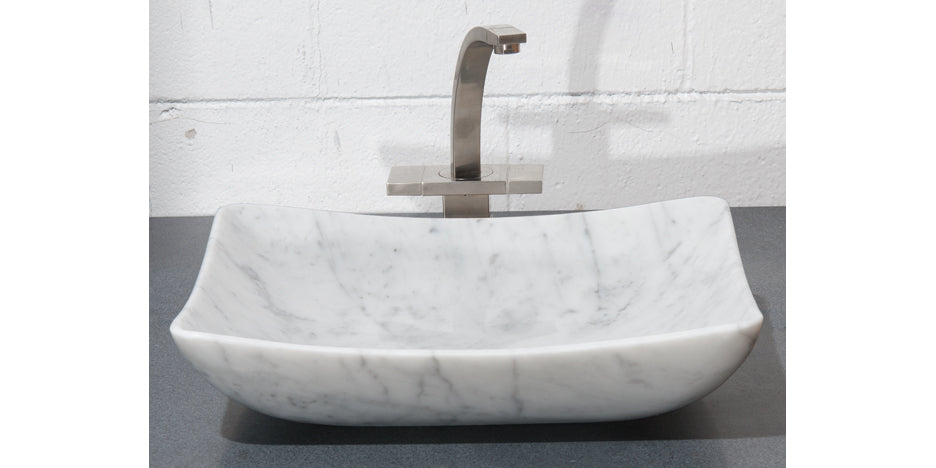 "18"" White Carrara Marble Vessel Sink"