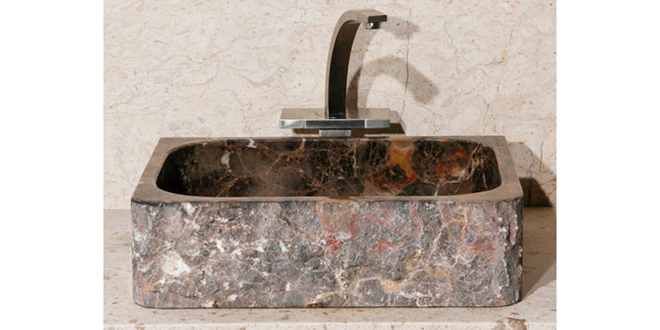 "18"" Rectangle Dark Brown Marble Lavatory Sink"