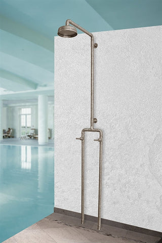 Floor Mount Exposed Shower with Rainhead