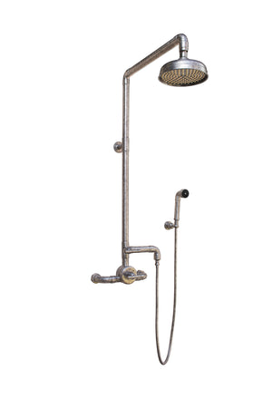 Wall Mount Exposed Thermostatic Shower w/Rainhead & Handshower