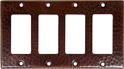 Quadruple GFI Hammered Copper Switch Plate Cover