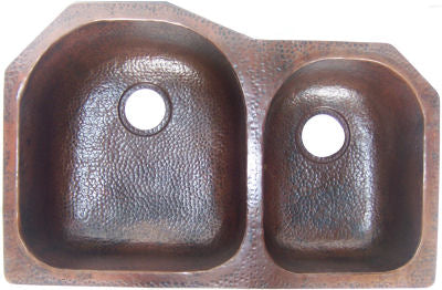 Double Bowl Hammered Copper Kitchen Sink