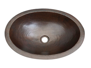 Flat Edge Oval Copper Bath Sink