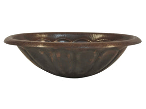 Oval Hammered Copper Sink with Pumpkin Design
