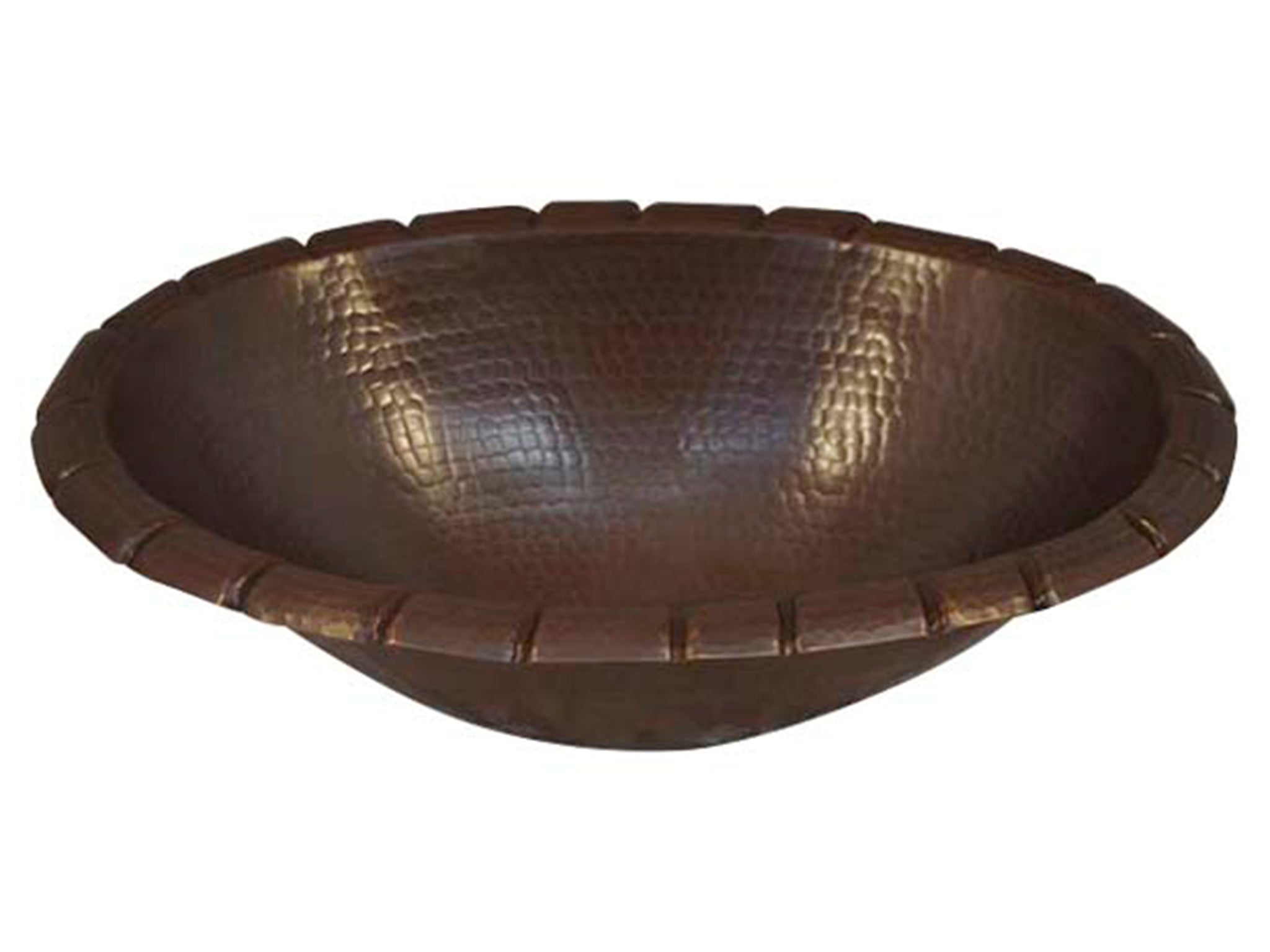 Oval Hammered Copper Sink with Rope Edge