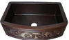 Scroll Cutout Design Copper Farmhouse Sink