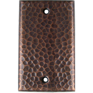 Single Blank Hammered Copper Switch Plate Cover