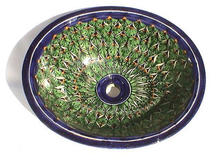 "17"" Green Peacock Ceramic Talavera Sink"
