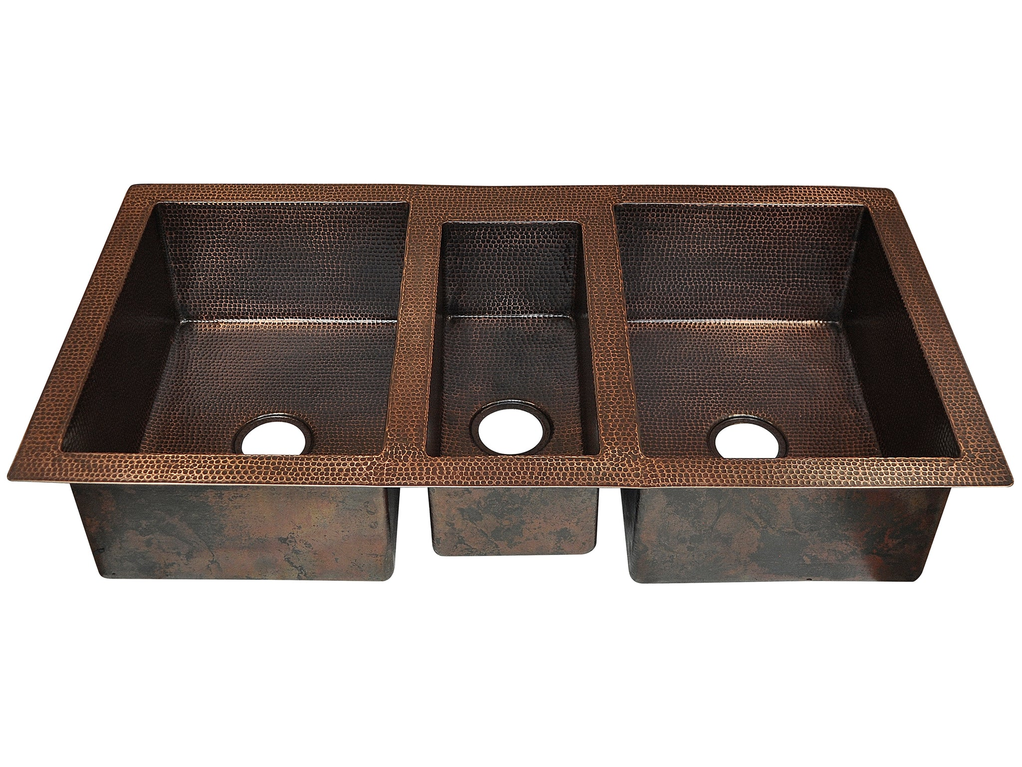 Undermount Triple Bowl Copper Kitchen Sink