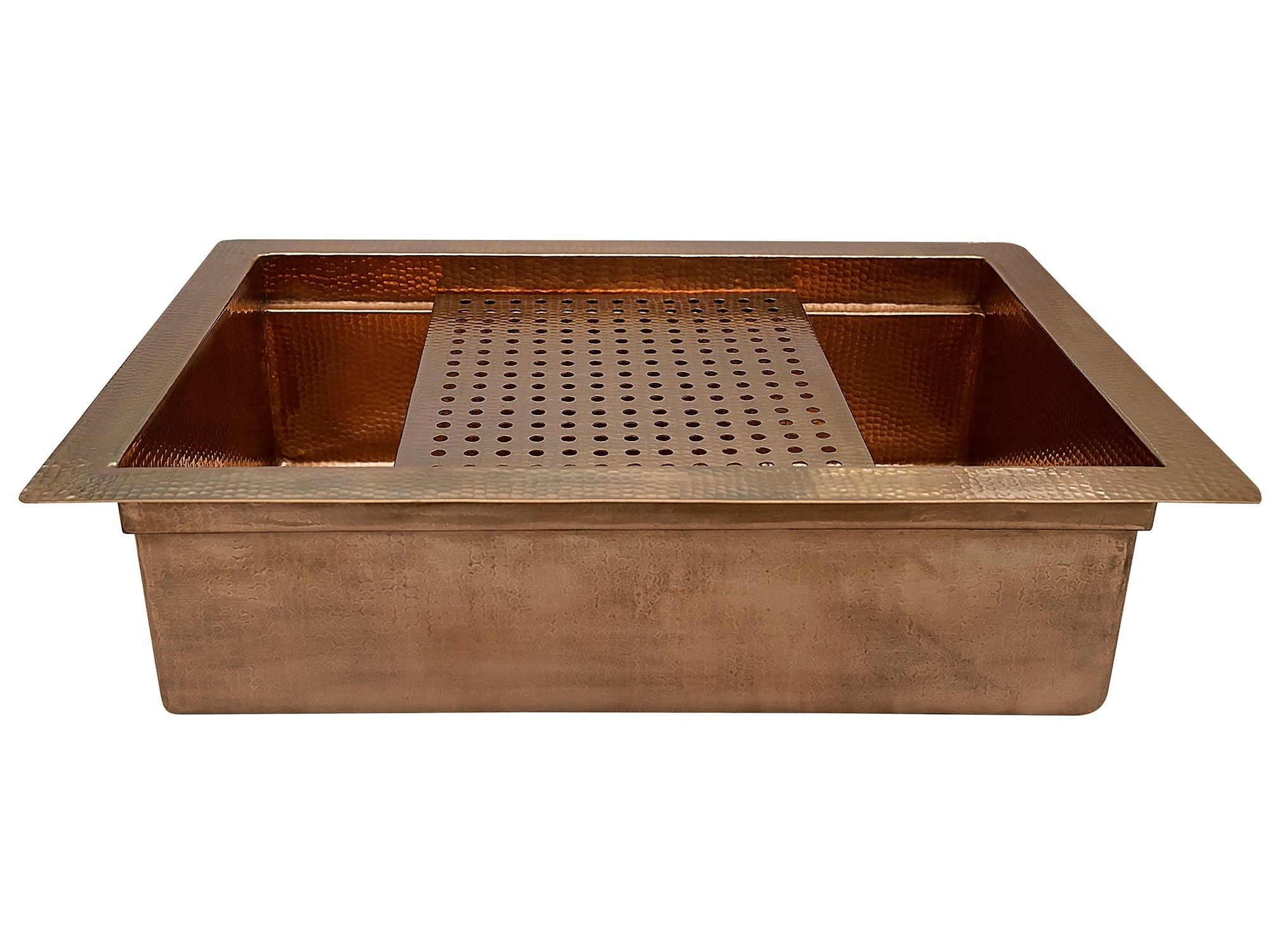 "33"" Copper Kitchen Sink with Removable Drainboard"