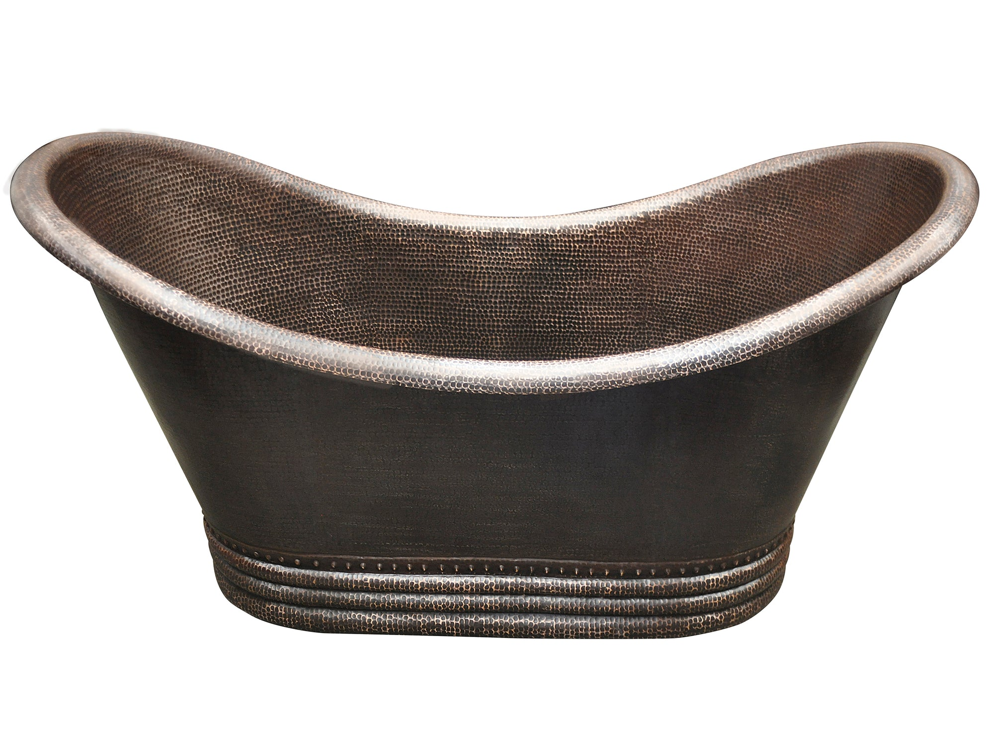 Double Slipper Hammered Copper Bathtub