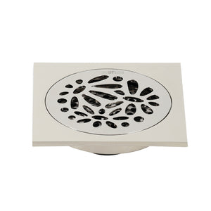 "Watercourse Floral 4"" Square Grid Shower Drain"
