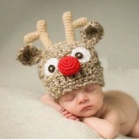 Christmas Rudolf the Red Nosed Reindeer Crochet Hat for Newborn Infant - ScooterBugDesign.com