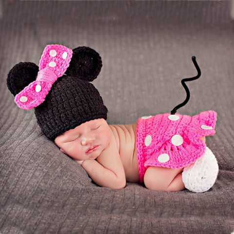 Disney Pink Mini Mouse Crochet Set Baby Girl Costume for Photography Prop - ScooterBugDesign.com