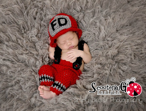 Firefighter Hero Newborn Infant Baby Boy or Girl Crochet Set Photography Prop - ScooterBugDesign.com