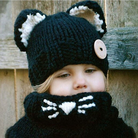 2Pcs Handmade New Crochet Winter Hat + Scarf Set For kids