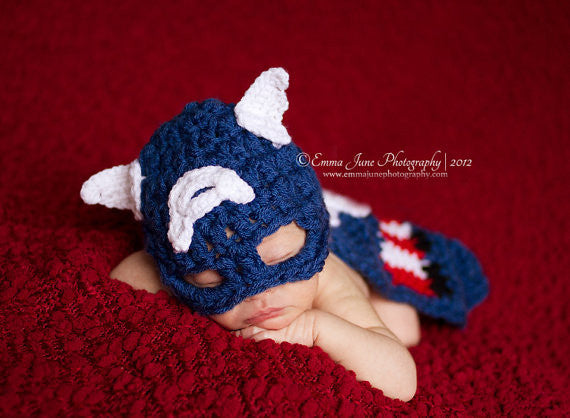 Captain America Crochet Set for Baby boy Photography Prop