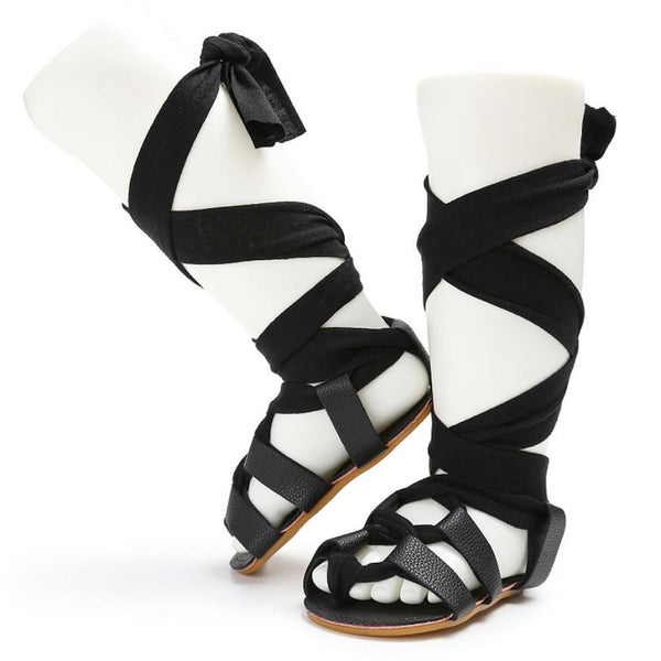 Baby Girl Lace Up Leather Roman Sandal Shoes