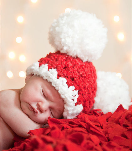 Handmade Christmas Santa Baby Beanie with Pom-Poms Photography Props