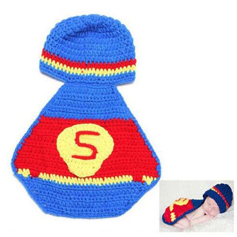 Adorable Little Superman Crochet Set Photography Prop