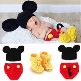 Disney Mickey Mouse Crochet newborn baby Set Photography Prop - ScooterBugDesign.com