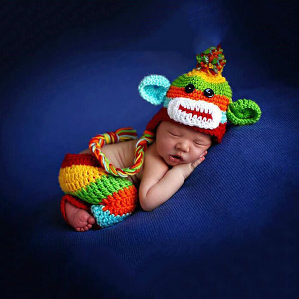 Handmade Crochet set Rainbow Monkey with Hat & Pants